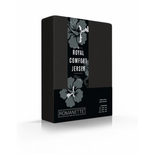 Romanette Hoeslaken Royal Jersey Zwart