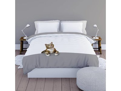 Satin d'Or Dekbedovertrek - Simba - Grijs Wit