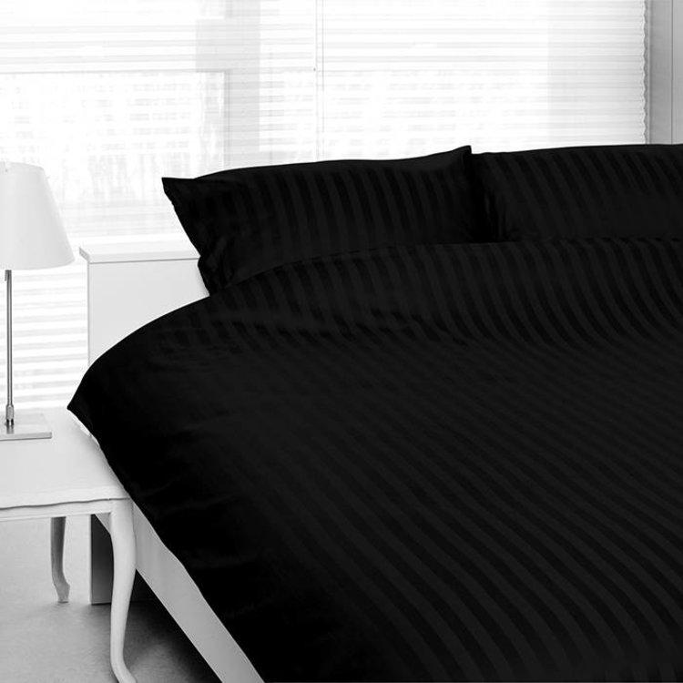 Satin d'Or Dekbedovertrek Hotel Streep Zwart