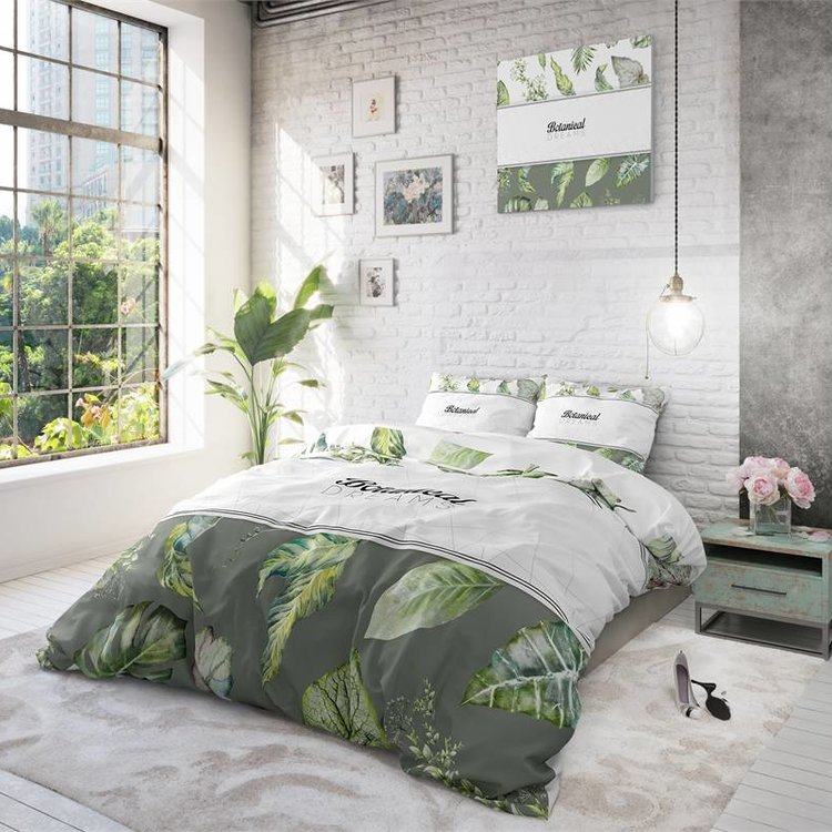 DreamHouse Dekbedovertrek Botanical Dreams Wit Groen