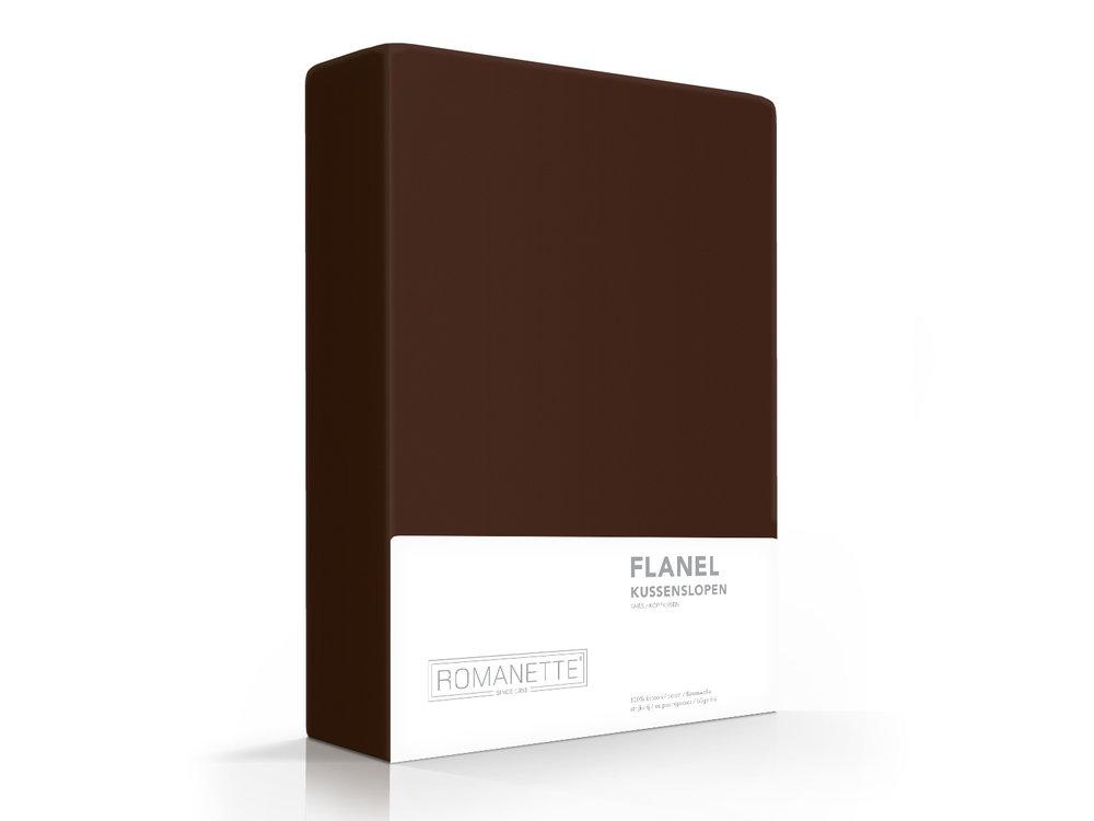Romanette Kussenslopen - Flanel - Bruin - 2 Stuks