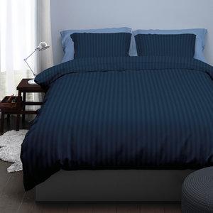 Satin d'Or Dekbedovertrek Hotel Streep Blauw Night