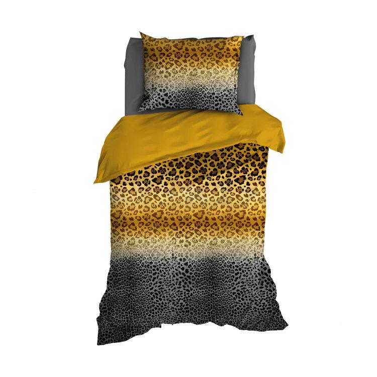 Satin d'Or Dekbedovertrek Panthera Antraciet Mosterd