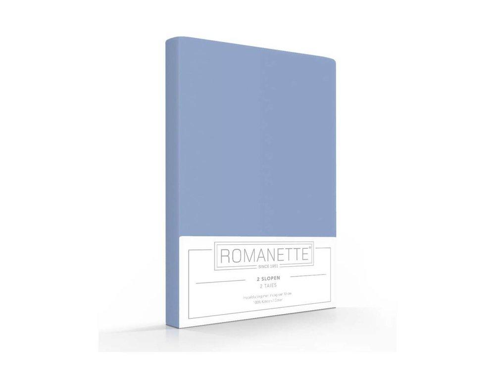 Romanette Kussenslopen - Katoen - Blauw - 2 stuks