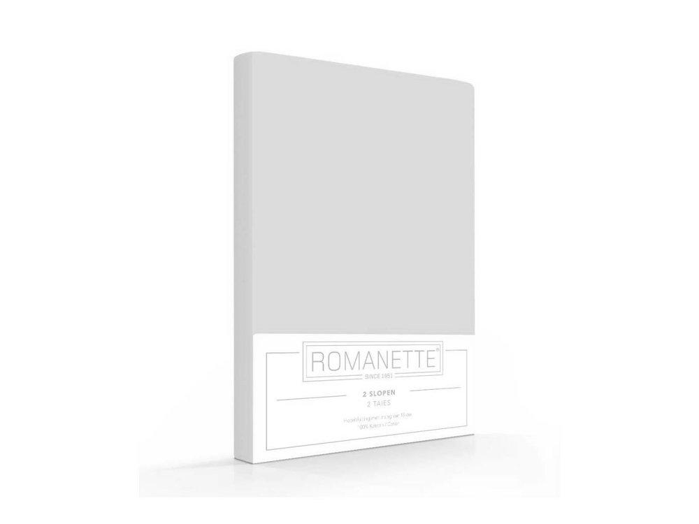Romanette Kussenslopen - Katoen - Zilver - 2 stuks