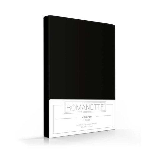Romanette Kussenslopen Zwart Katoen - 2 stuks
