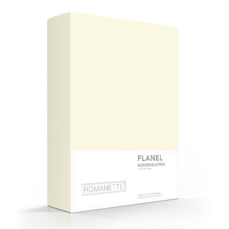 Romanette Kussenslopen Flanel Crème Ivoor - 2 stuks