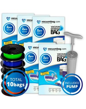Vacuumbag.com Vacuumzakken voor Filament Pakket [Set 10 Zakken+Pomp]