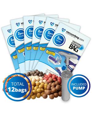 Vacuumbag.com Pakket Vacuumzakken voor Karper Boilies [Set 12 Zakken+Pomp]