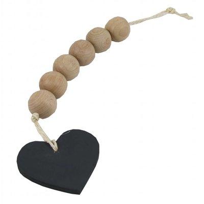 Slinger van houten kralen met hart - zwart