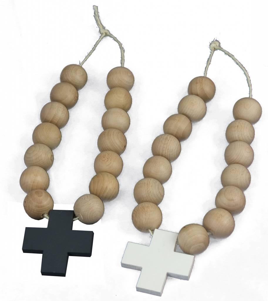Fonkelnieuw Ketting van houten kralen met kruis - zwart - Leefhuus BL-79