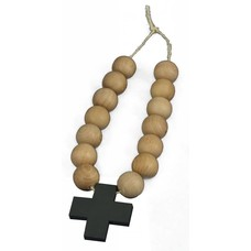 Ketting van houten kralen met kruis - zwart