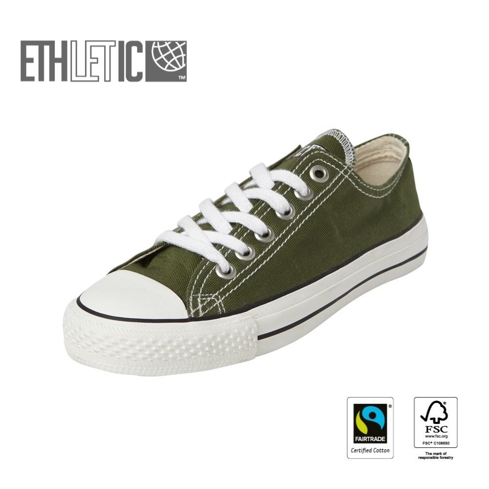Ethletic Kids Lo Cut Classic Camping Green | Just White