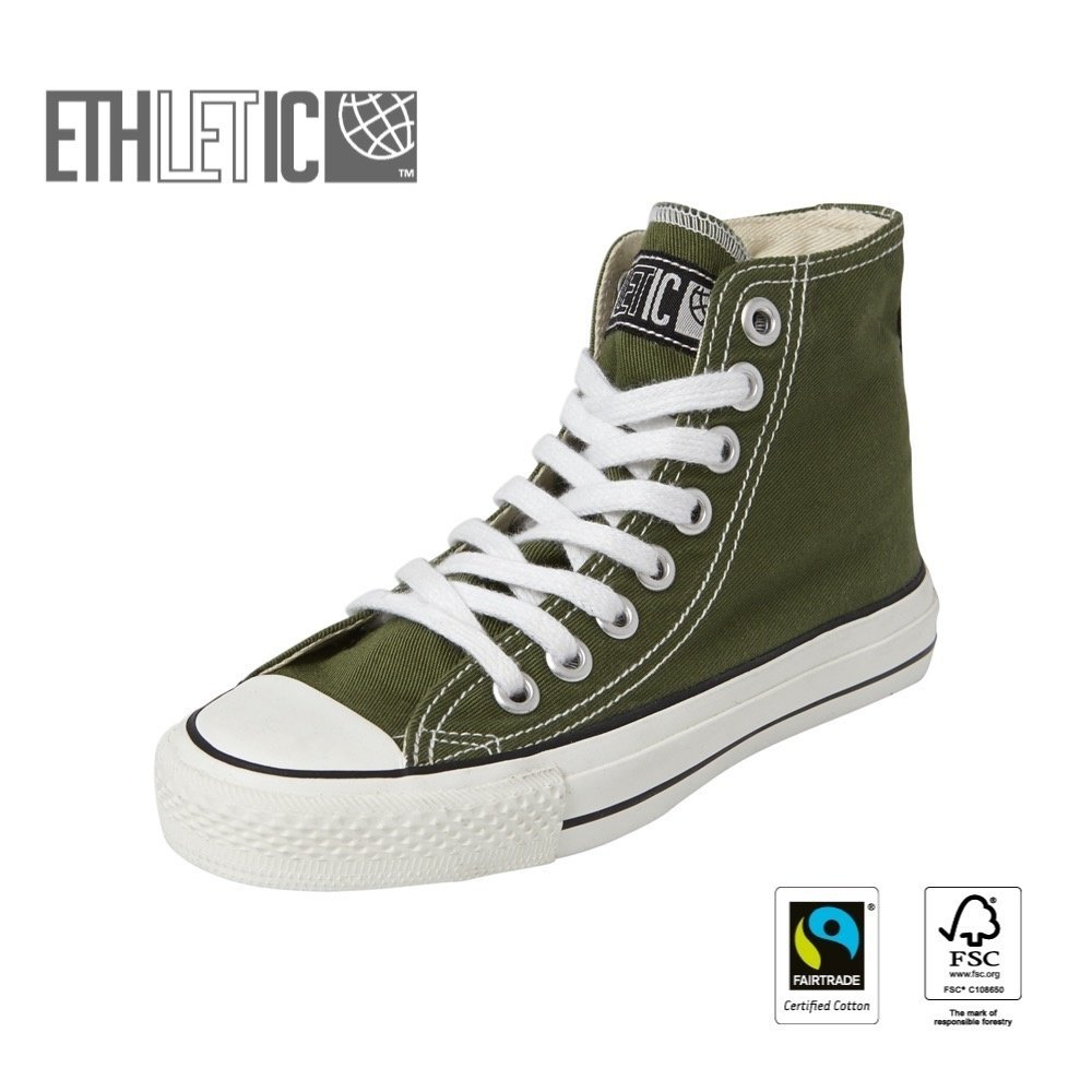 Ethletic Kids Hi Cut Classic Camping Green | Just White