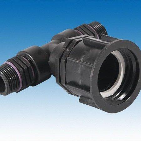 """IBC Adapter, Grobgewinde S60x6 mit 2x Auslaufstutzen 1"""" AG #27"""