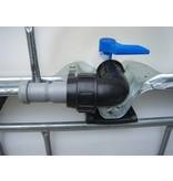 IBC Adapter, Winkel- Klemmverbindung 50mm Rohr, Grobgewinde S60x6 #1402