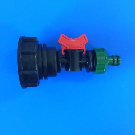 IBC Adapter, Grobgewinde S60x6 mit Mini-Absperrventil inkl. Gardena-System