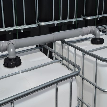 IBC Tank,  Anlage 2000L mit Schlauch, auf Stahl/PE-Palette