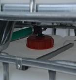 IBC Tank, Anlage 6000 l mit Schlauch, auf Stahl/PE-Palette