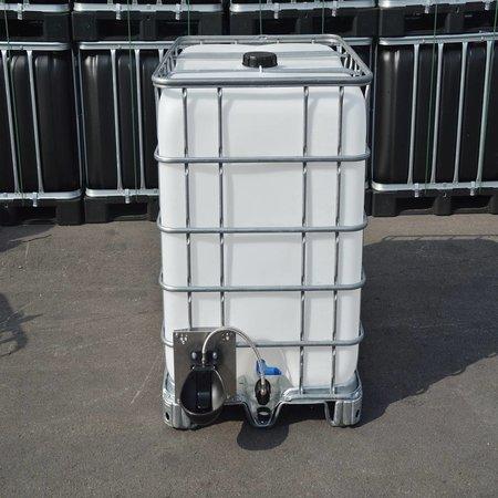 IBC Wassertank Neu 1000 l, auf Stahl/PE-Palette mit Weidetränke und Verbindungsset.