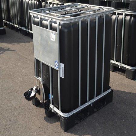 IBC Wassertank 1000L Neu Schwarz ( UV-Schutz) auf Stahl/PE-Palette mit Weidetränke und Verbindungsset