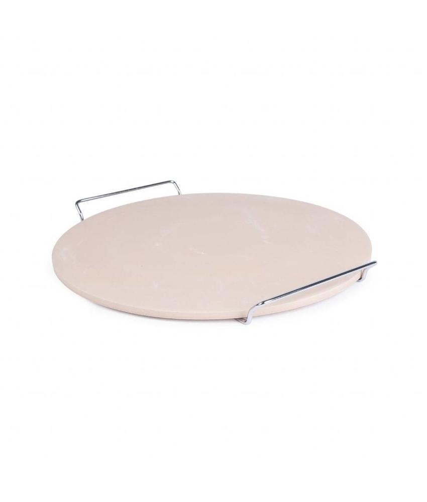 V-Supply Ronde pizzasteen met metalen houder