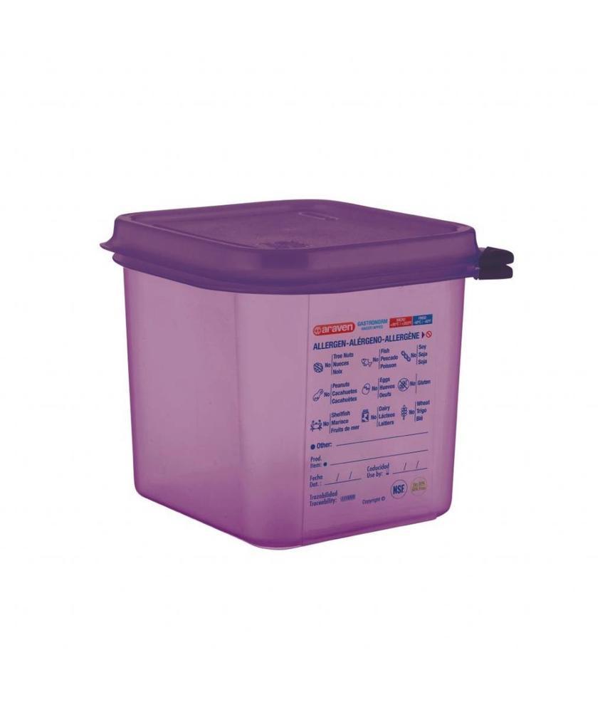 Araven Araven GN1/6 siliconen allergenen voedseldoos met deksel 2,6L