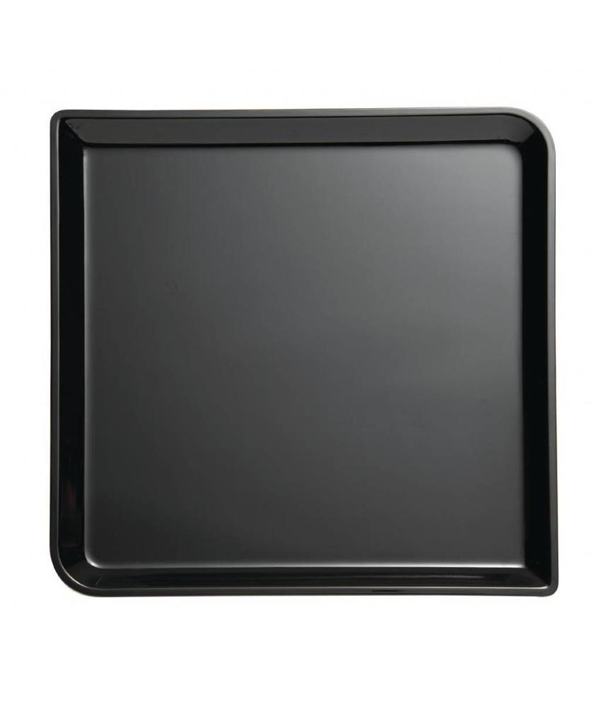 APS Buffet Systeem melamine vierkante schaal zwart 2x29x29cm zwart