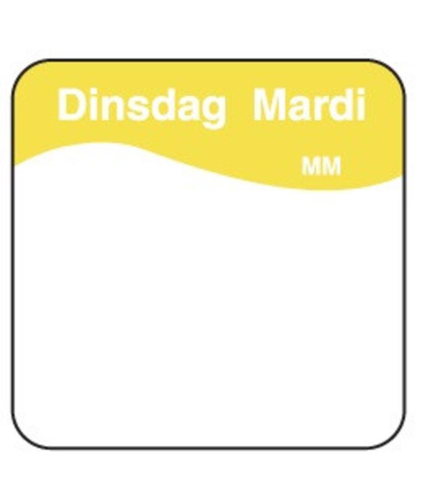 Daymark Vol. oplosbare sticker dinsdag 25 mm 500/rol