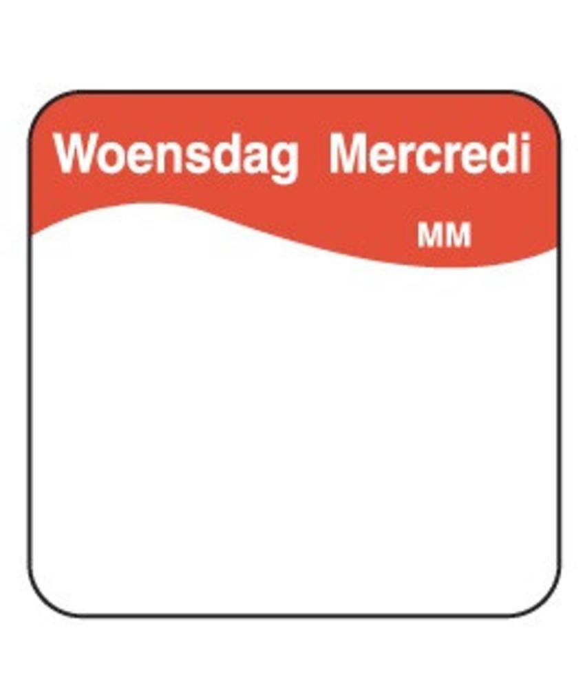 Daymark Vol. oplosbare sticker woensdag 25 mm 500/rol