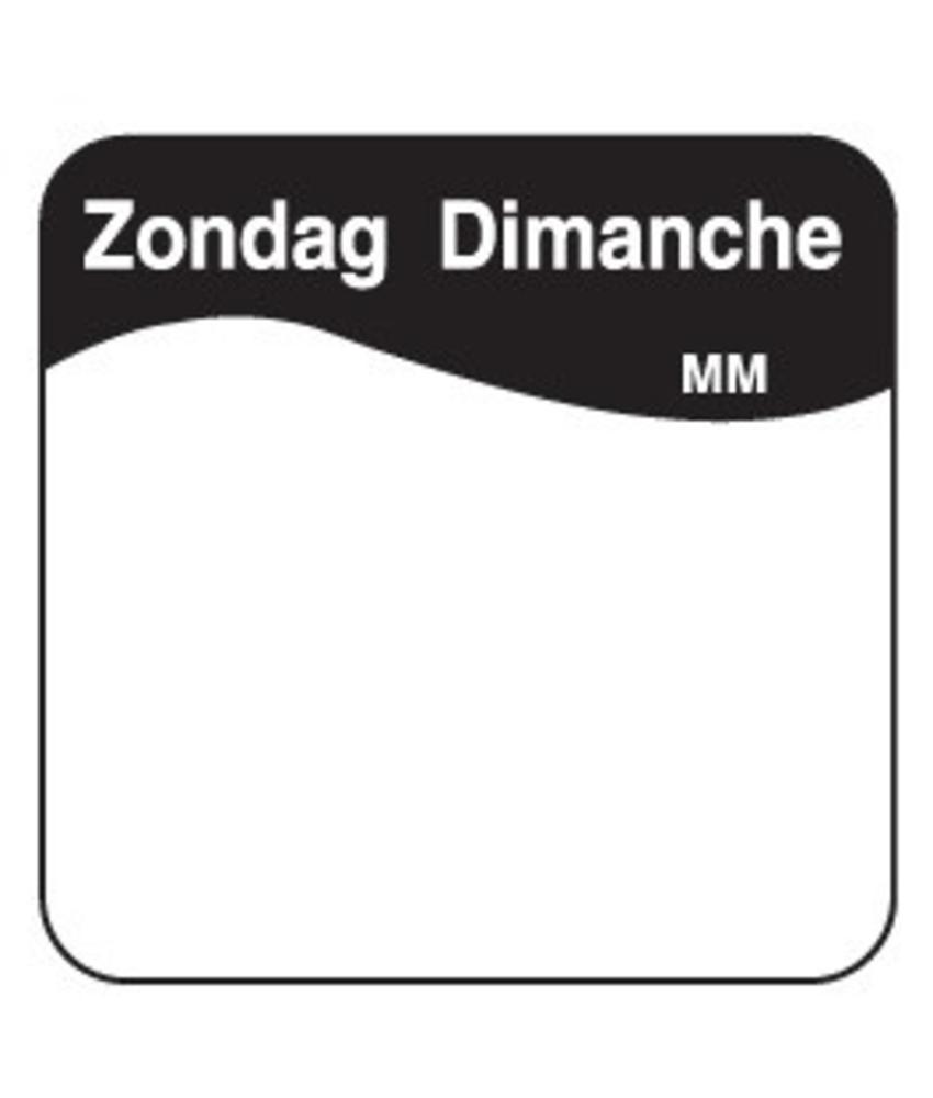 Daymark Vol. oplosbare sticker zondag 25 mm 500/rol