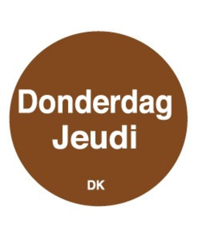 Daymark Permanente sticker donderdag 19 mm 1000/rol