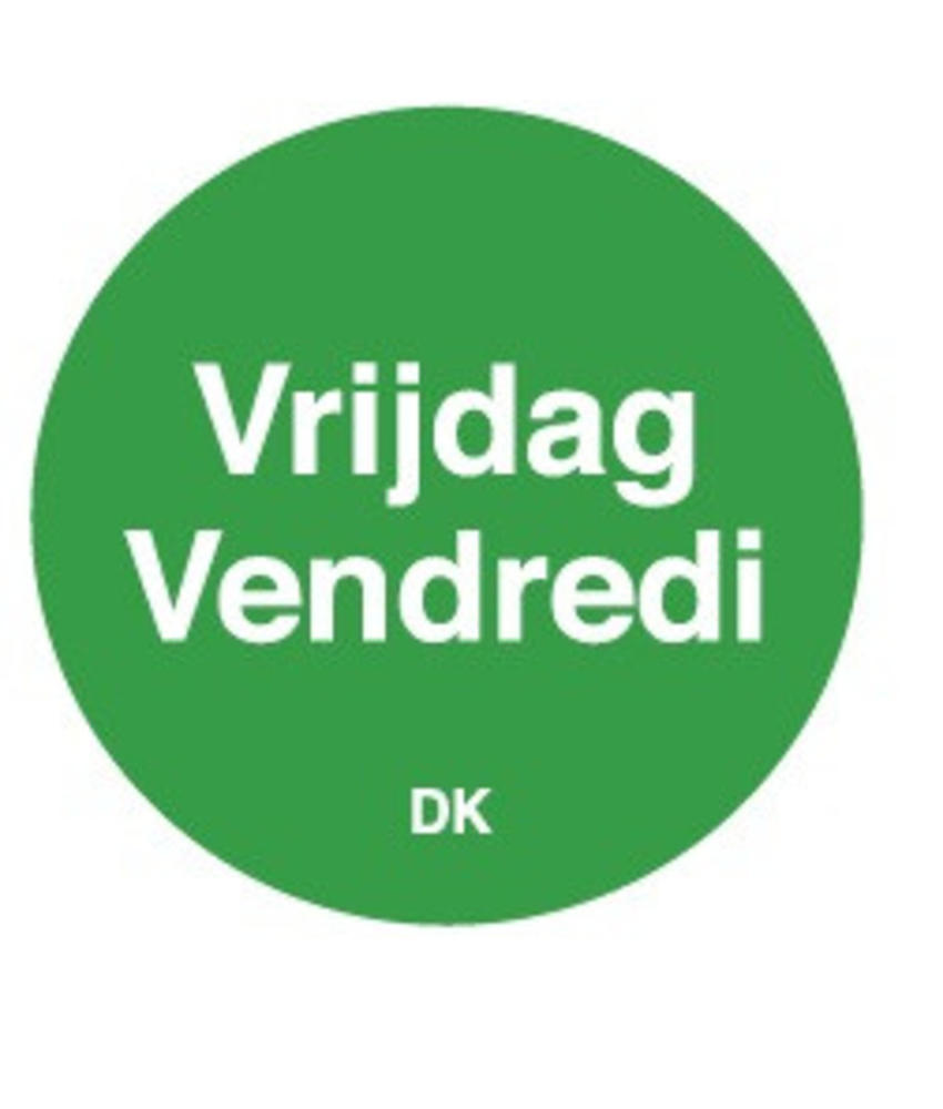 Daymark Permanente sticker vrijdag 19 mm 1000/rol