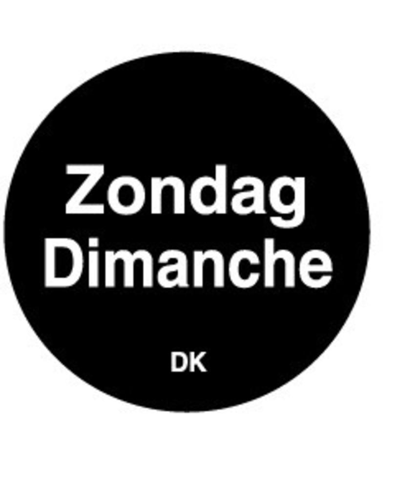 Daymark Permanente sticker zondag 19 mm 1000/rol