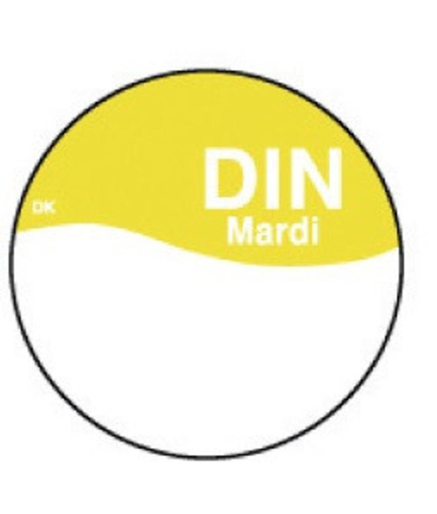 Daymark Perm. sticker m/schrijfvlak dinsdag 19 mm 1000/rol