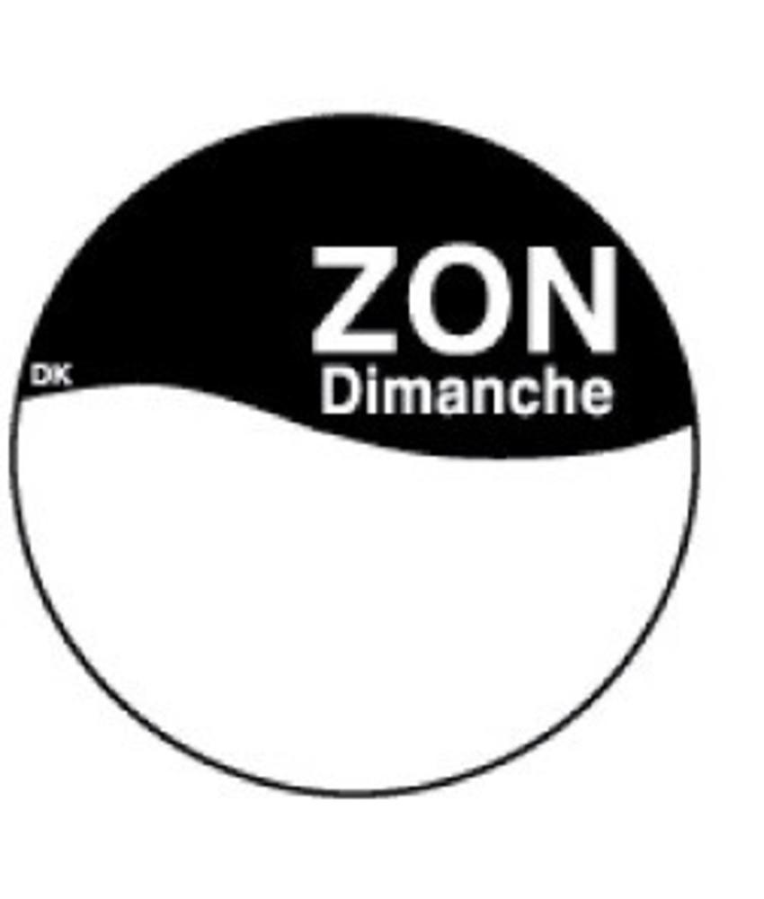 Daymark Perm. sticker m/schrijfvlak zondag 19 mm 1000/rol