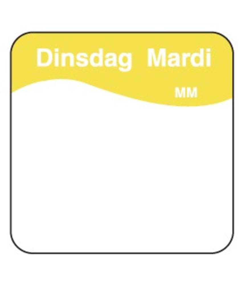 Daymark Makk. verwijderbare sticker dinsdag 25 mm 1000/rol