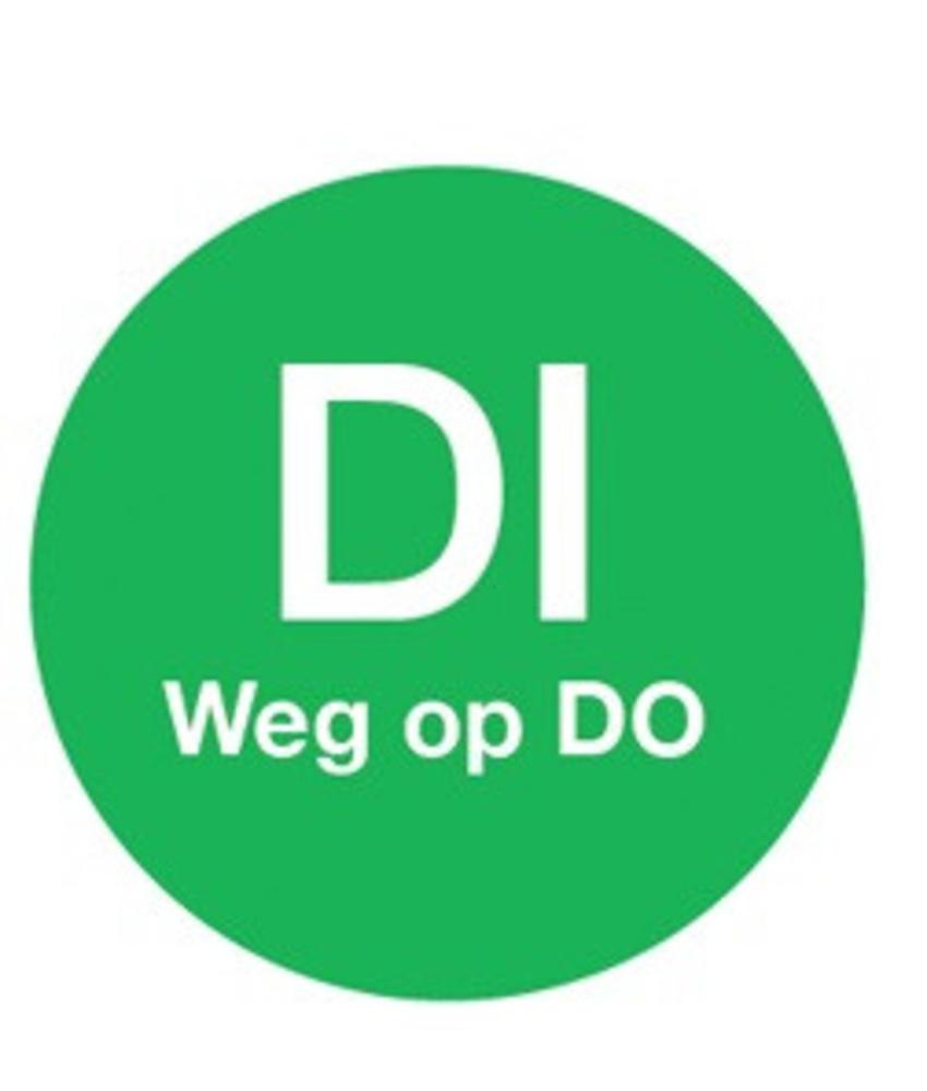 Daymark Afwasb. sticker 'di weg op do' 19 mm 500/rol