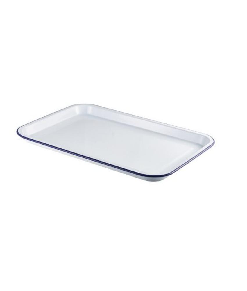 Stylepoint Emaille foodplateau wit/blauw 30,5 x 23,5 cm 4 stuks