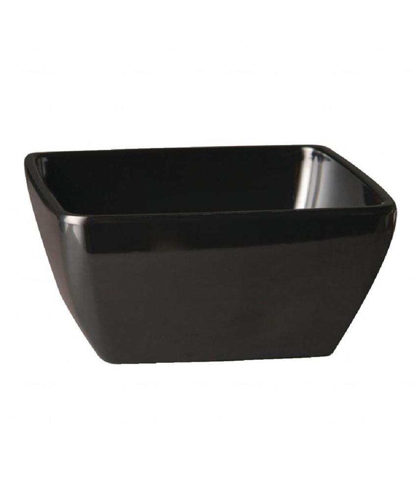 APS Vierkante melamine kom Pure 19cm zwart