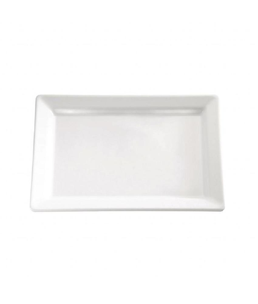 APS Melamine rechthoekige schaal wit 30x21cm