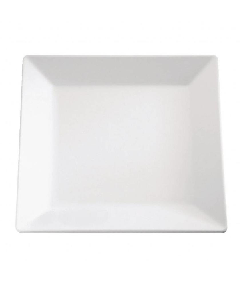 APS Melamine vierkante schaal wit 21x21cm