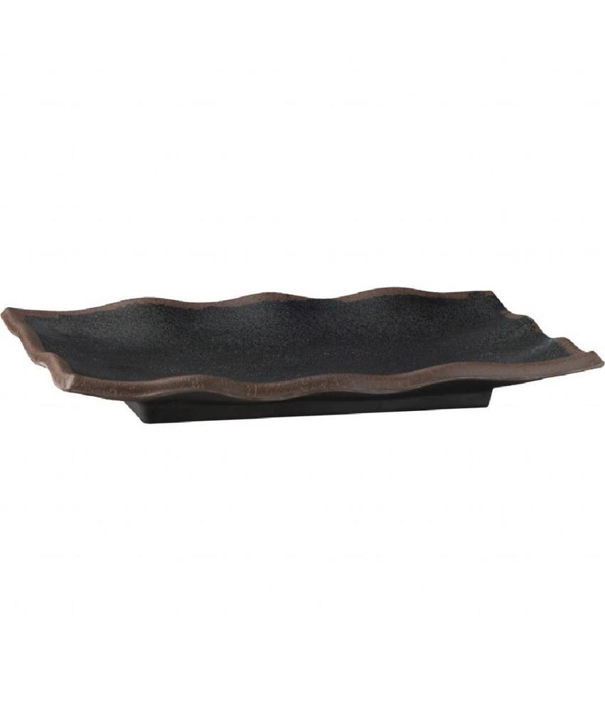 APS Marone melamine gegolfde schaal zwart 27,5x11cm