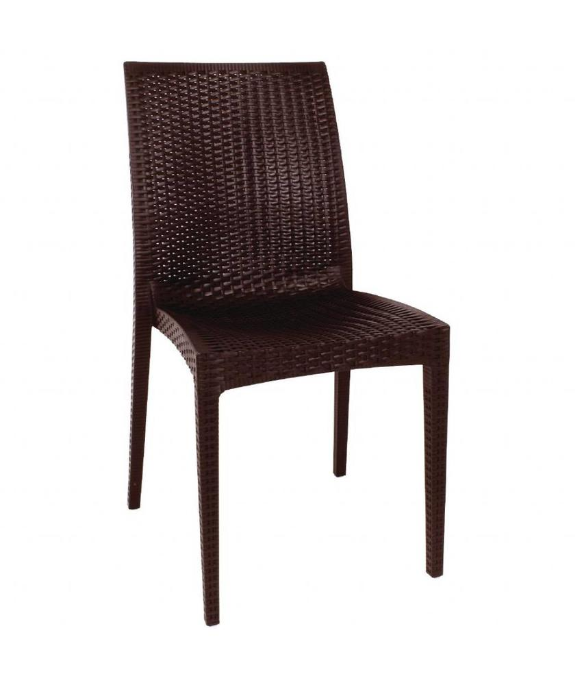 Bolero Bolero kunststof rotan stoel zonder armleuning bruin - 4 stuks 4 stuks
