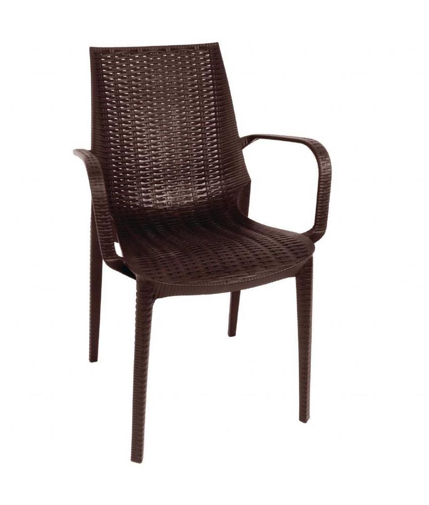 Bolero Bolero kunststof rotan stoel met armleuning bruin - 4 stuks 4 stuks