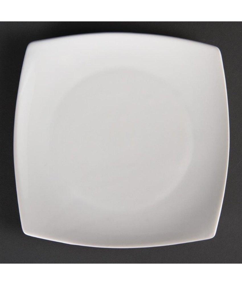 Olympia Olympia Whiteware vierkante borden met afgeronde hoeken 27cm 6 stuks
