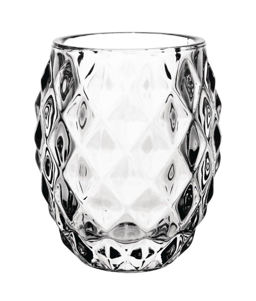 Olympia Glazen diamant theelichthouder doorzichtig 7,5cm