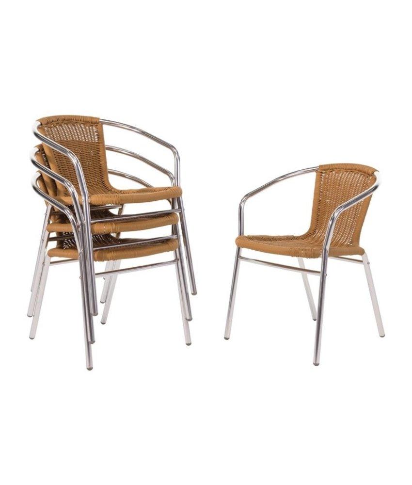 Bolero Bolero aluminium en rotan stoel naturel 4 stuks