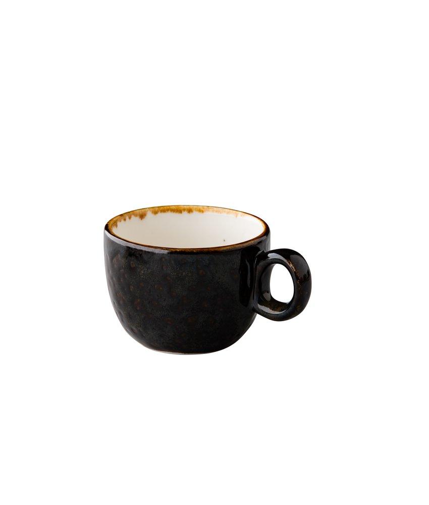 Q Authentic Jersey Koffiekop stapelbaar bruin 160 ml ( 6 stuks)