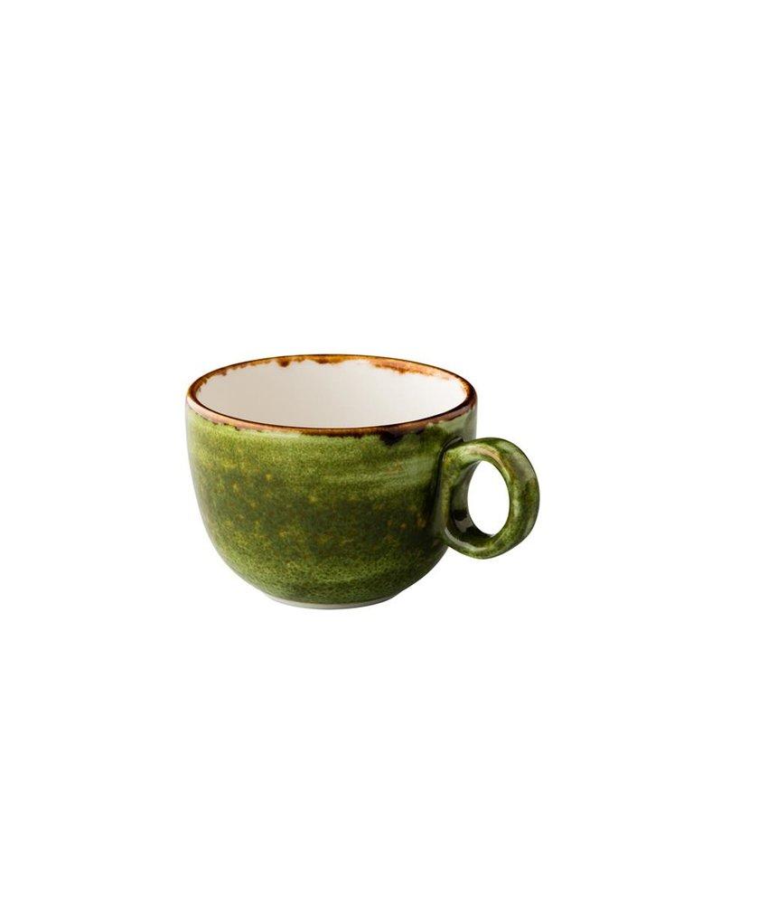Q Authentic Jersey Latte koffiekop stapelbaar groen 350 ml ( 6 stuks)